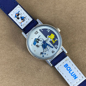 Snoopy and Woodstock Golfing Watch Navy Strap